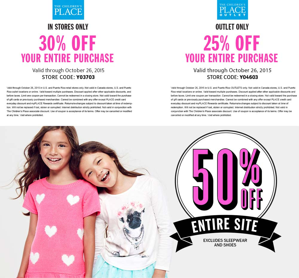 The Childrens Place Coupon October 2016 30% off at The Childrens Place, or 50% off everything online - extra 25% at outlets