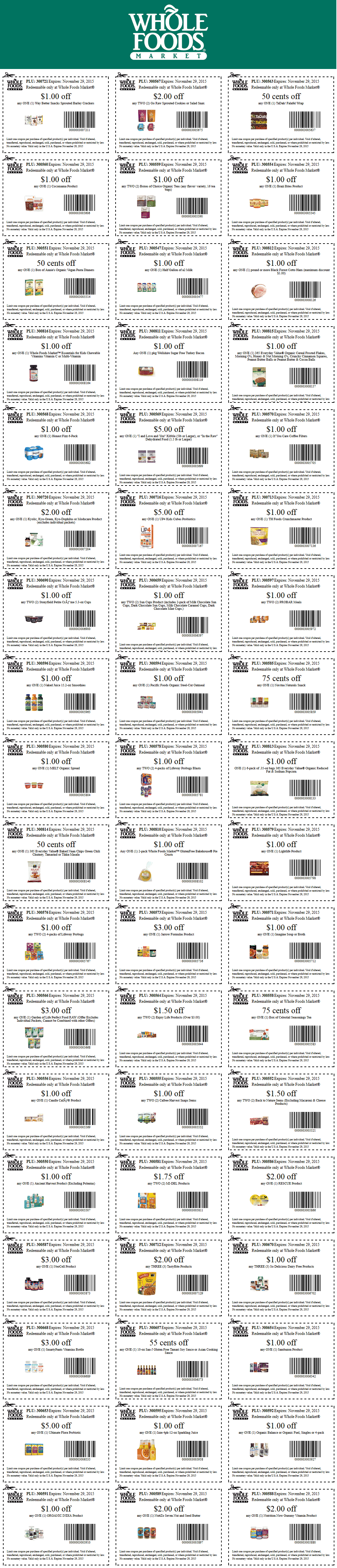 Whole Foods Coupon November 2017 Various grocery coupons at Whole Foods