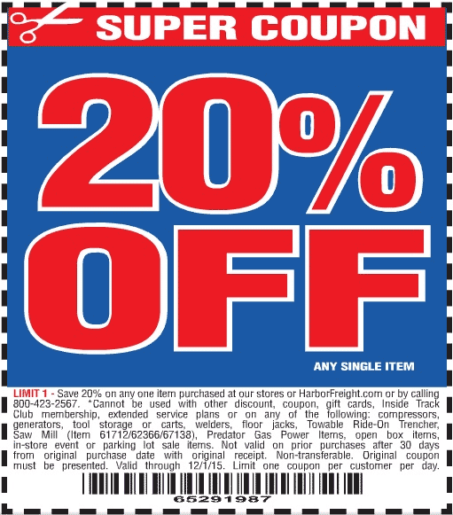 Harbor Freight Coupon August 2017 20% off a single item at Harbor Freight tools, or online via promo code 65291987