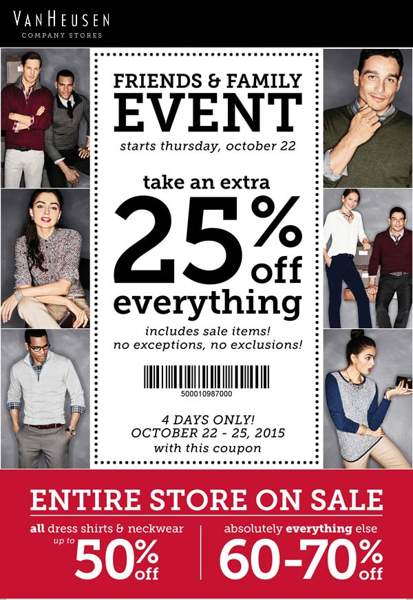 VanHeusen.com Promo Coupon Everything is 60-70% off + extra 25% off everything at Van Heusen