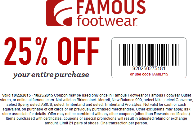 Famous Footwear Coupon December 2016 25% off at Famous Footwear, or online via promo code FALL2015