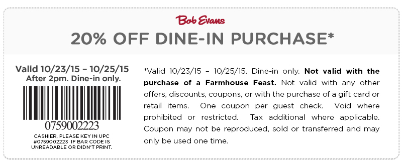 Bob Evans Coupon November 2018 20% off after 2pm at Bob Evans restaurants