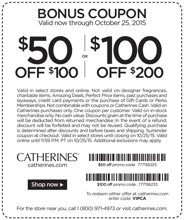 Catherines Coupon June 2018 $50 off $100 & more at Catherines, or online via promo code VIPCA