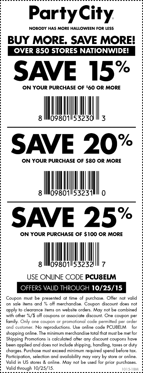 Party City Coupon July 2018 15-25% off at Party City, or online via promo code PCU8ELM