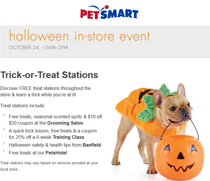 PetSmart Coupon May 2018 Free treats & service coupons 10a-2p Saturday at PetSmart