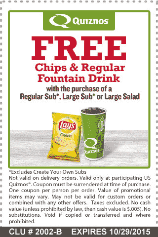 Quiznos Coupon March 2019 Free chips & drink with your sub or salad at Quiznos