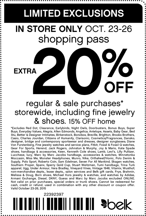Belk Coupon October 2016 Extra 20% off at Belk
