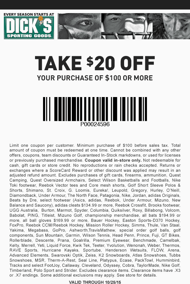 Dicks Coupon August 2017 $20 off $100 at Dicks Sporting Goods