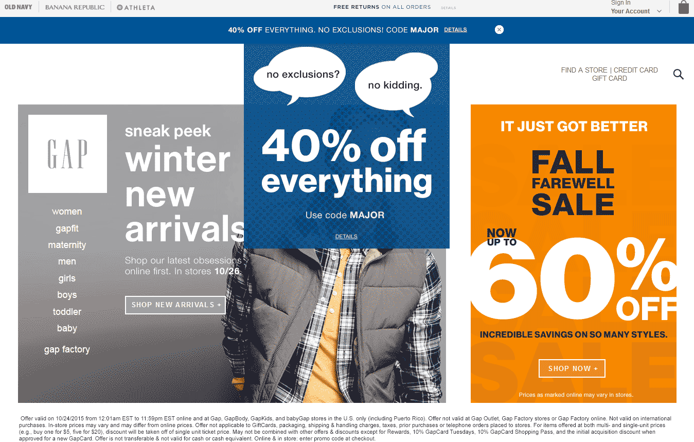 Gap Coupon October 2016 40% off everything at Gap, or online via promo code MAJOR