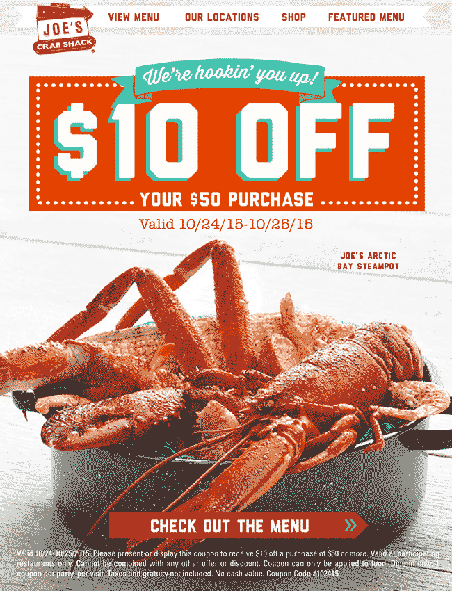 Joes Crab Shack Coupon May 2017 $10 off $50 at Joes Crab Shack