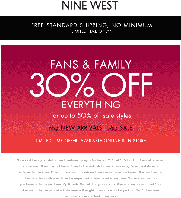 Nine West Coupon September 2018 30% off everything at Nine West, ditto online