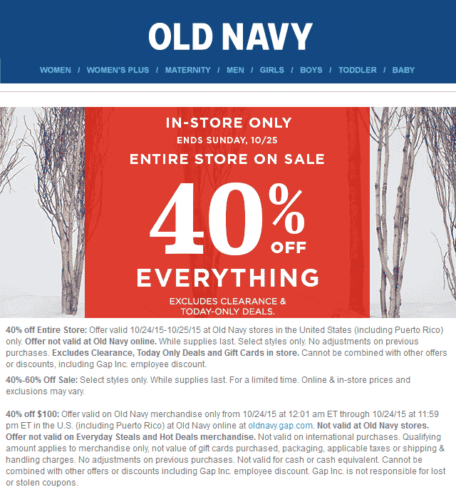Old Navy Coupon October 2016 40% off everything at Old Navy, or 40% off $100 online Saturday via promo code ENJOY