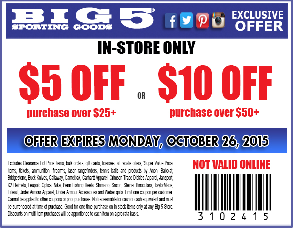 Big 5 Coupon May 2017 $5 off $25 & more at Big 5 sporting goods