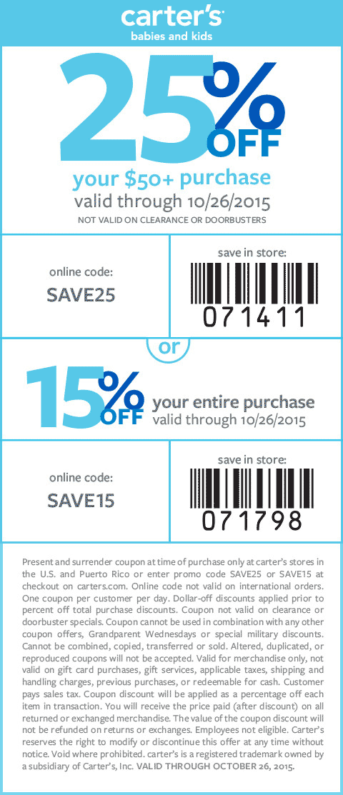 Carters Coupon August 2017 15-25% off at Carters, or online via promo code SAVE15