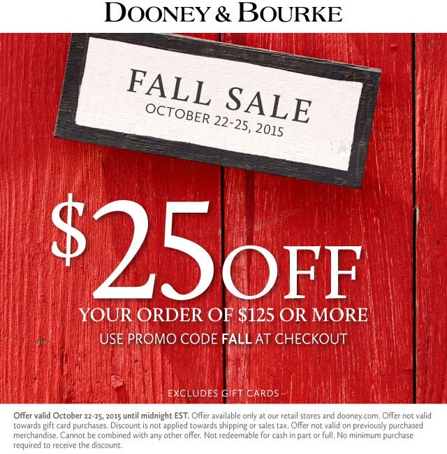 Dooney & Bourke Coupon September 2018 $25 off $125 today at Dooney & Bourke, or online via promo code FALL