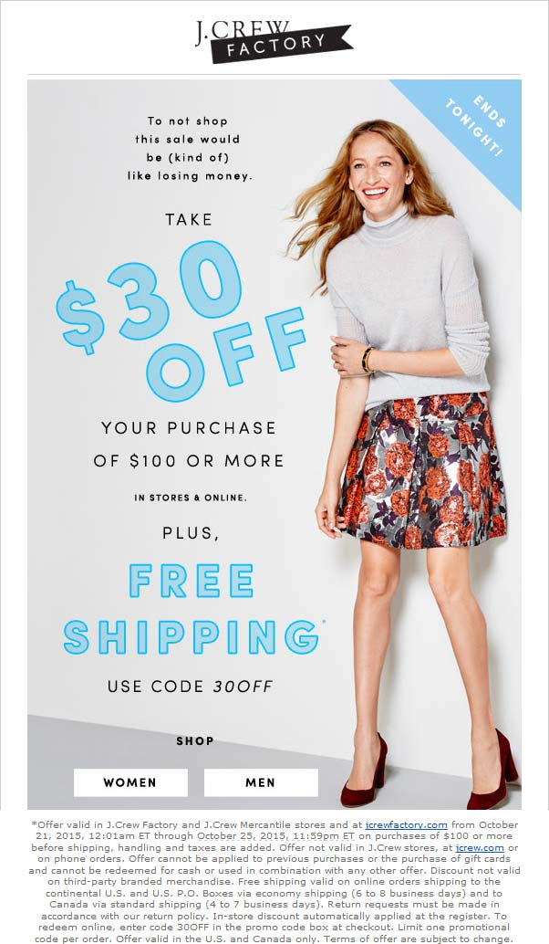 J.Crew Factory Coupon December 2016 30% off $100 today at J.Crew Factory locations, or online via promo code 30OFF