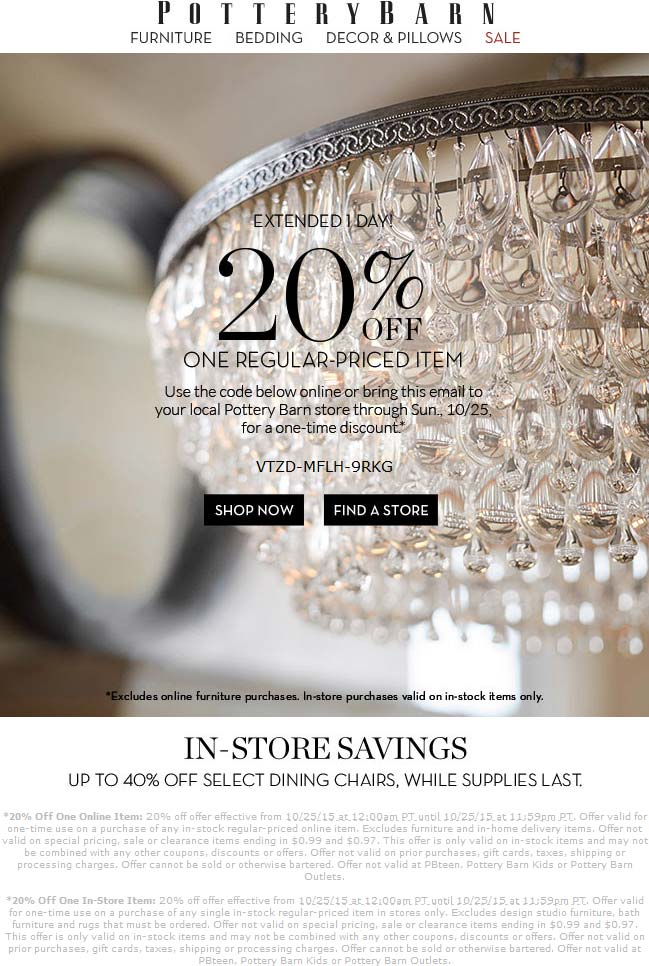 Pottery Barn Coupon July 2018 20% off a single item today at Pottery Barn