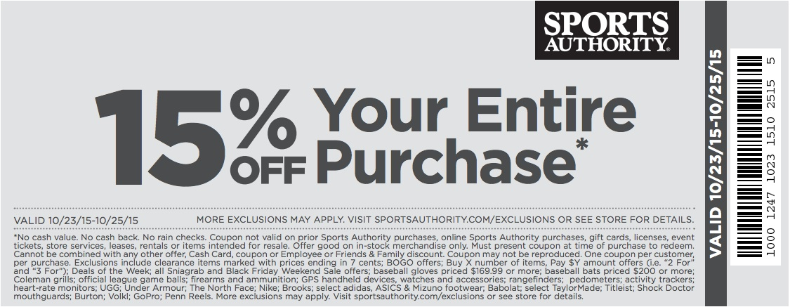Sports Authority Coupon October 2016 15% off today at Sports Authority, or online via promo code 15EP