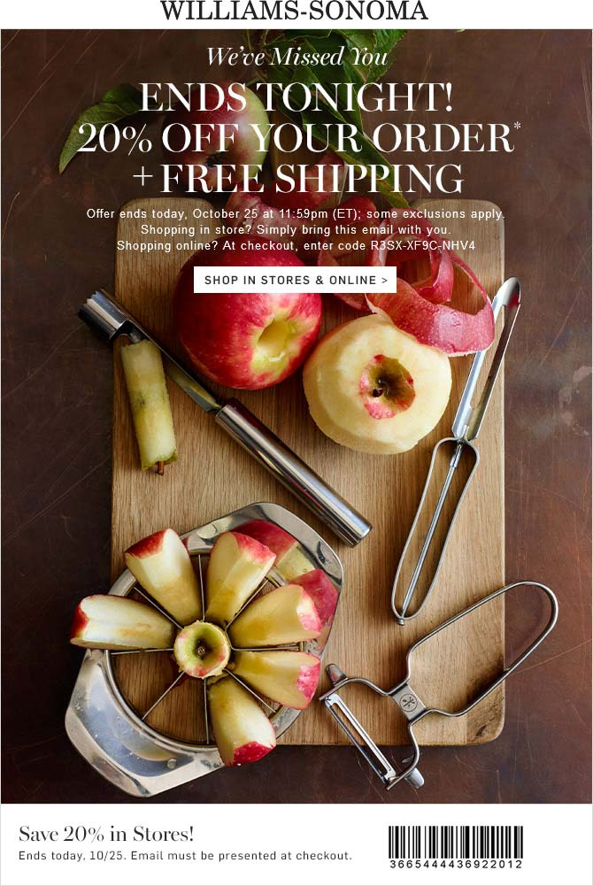 Williams-Sonoma Coupon November 2018 20% off today at Williams-Sonoma