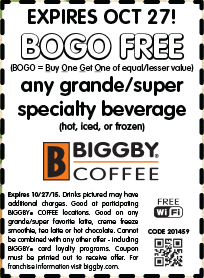 Biggby Coffee Coupon July 2017 Second beverage free at Biggby Coffee