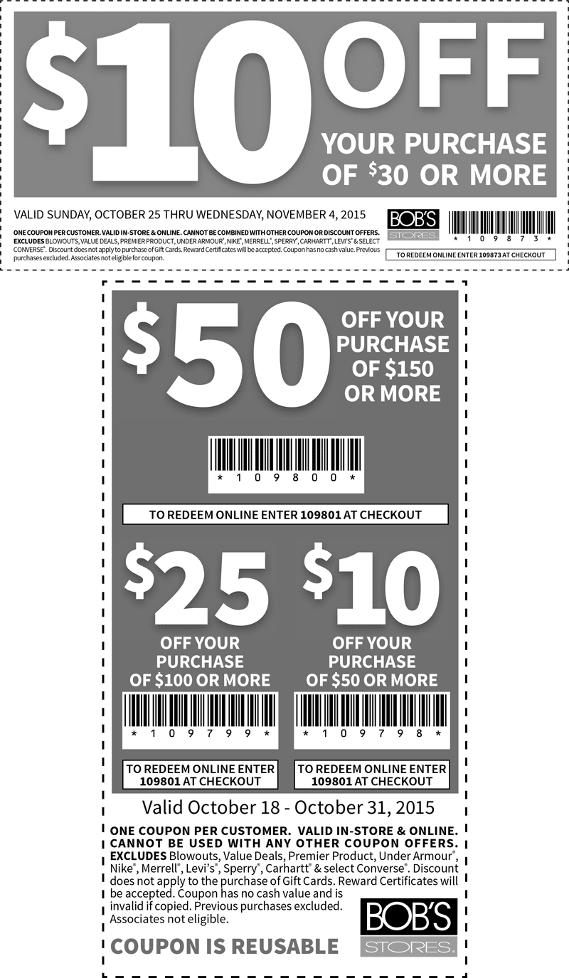 Bobs Stores Coupon August 2017 $10 off $30 & more at Bobs Stores, or online via promo code 109873