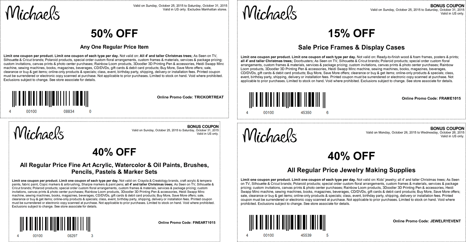Michaels Coupon April 2017 50% off a single item & more at Michaels, or online via promo code TRICKORTREAT