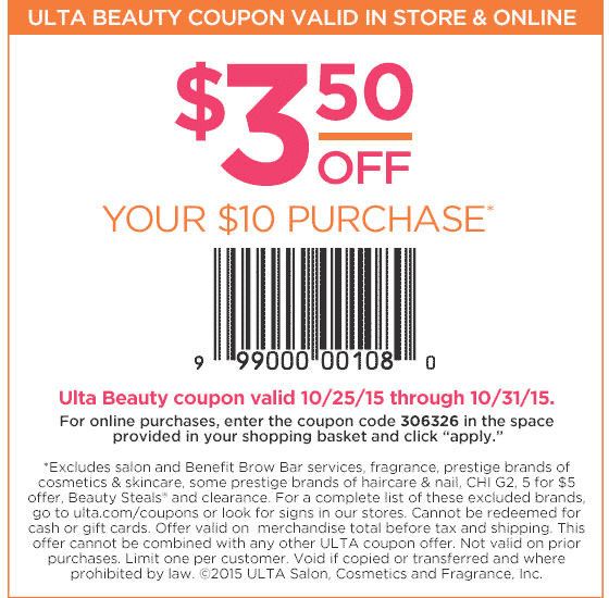 Ulta Coupon November 2017 $3 off $10 at Ulta beauty, or online via promo code 306326