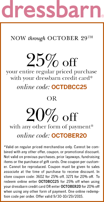 Dressbarn Coupon March 2017 20% off at Dressbarn, or online via promo code OCTOBER20