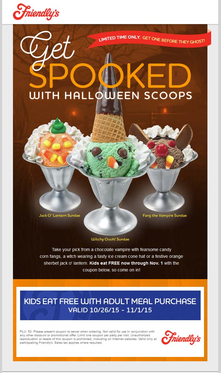 Friendlys Coupon September 2018 Kids eat free with yours at Friendlys restaurants