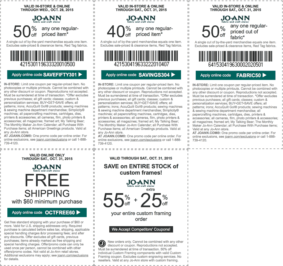 Jo-Ann Fabric Coupon September 2017 50% off a single item & more at Jo-Ann Fabric, or online via promo code SAVEFIFTY301