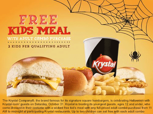 Krystal Coupon November 2018 Free kids meal with yours in costume Saturday at Krystal