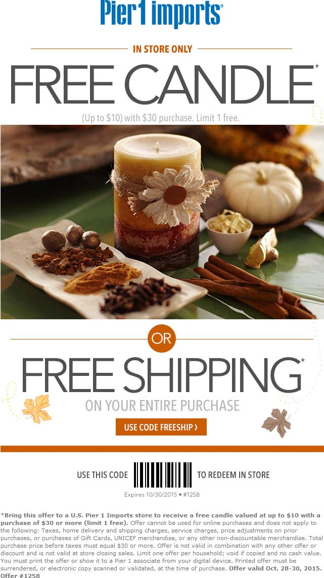 Pier 1 Imports Coupon November 2017 $10 candle free with $30 spent at Pier 1 Imports