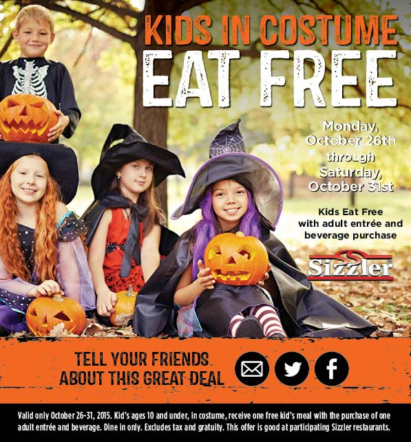 Sizzler Coupon November 2017 Kids in costume eat free with your entree at Sizzler