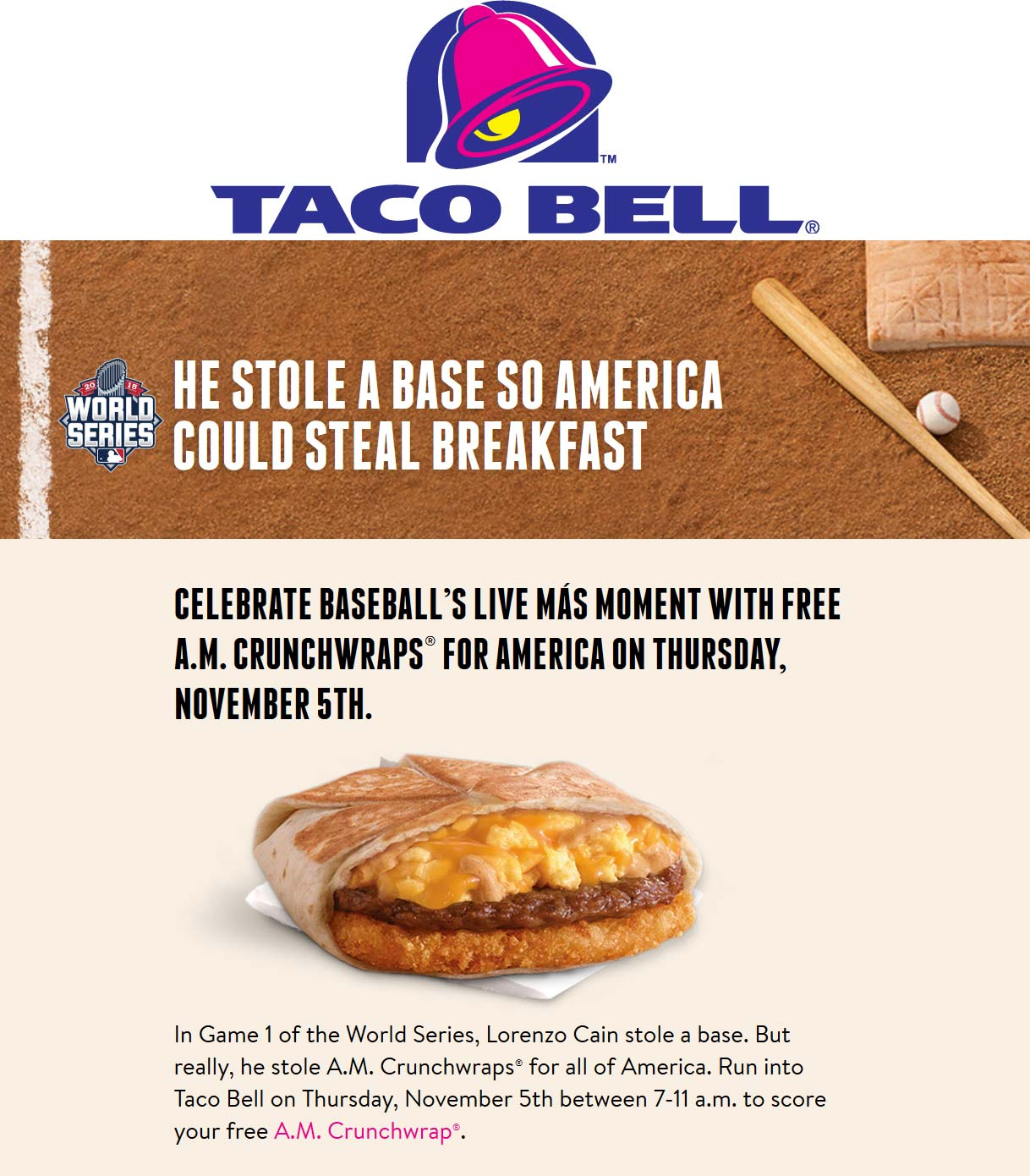 Taco Bell Coupon August 2018 A.M. crunchwrap free the 5th at Taco Bell
