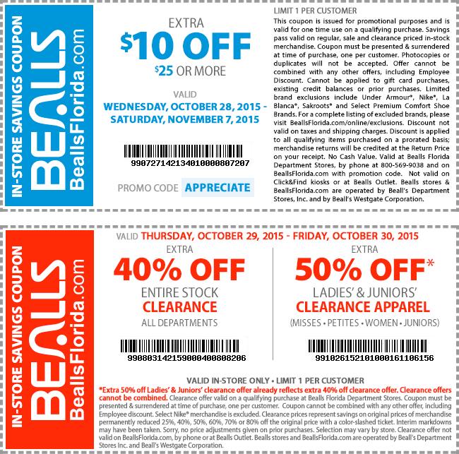 Bealls Coupon July 2017 $10 off $25 at Bealls, or online via promo code APPRECIATE