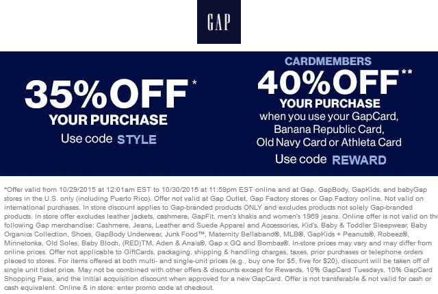 Gap Coupon July 2017 35% off at Gap, GapBody, GapKids, and babyGap, or online via promo code STYLE