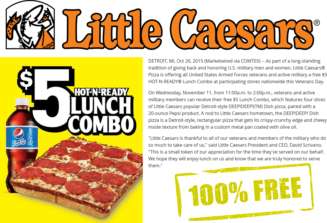 Little Caesars Coupon February 2019 $5 lunch combo free for military & veterans the 11th at Little Caesars pizza