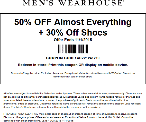 Mens Wearhouse Coupon March 2018 50% off + 30% off shoes at Mens Wearhouse, or online via promo code ACVV1241219