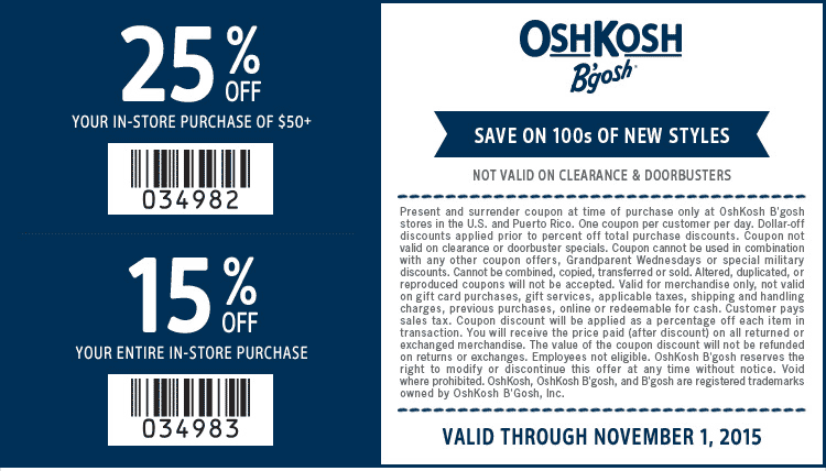 OshKosh Bgosh Coupon August 2017 15-25% off at OshKosh Bgosh