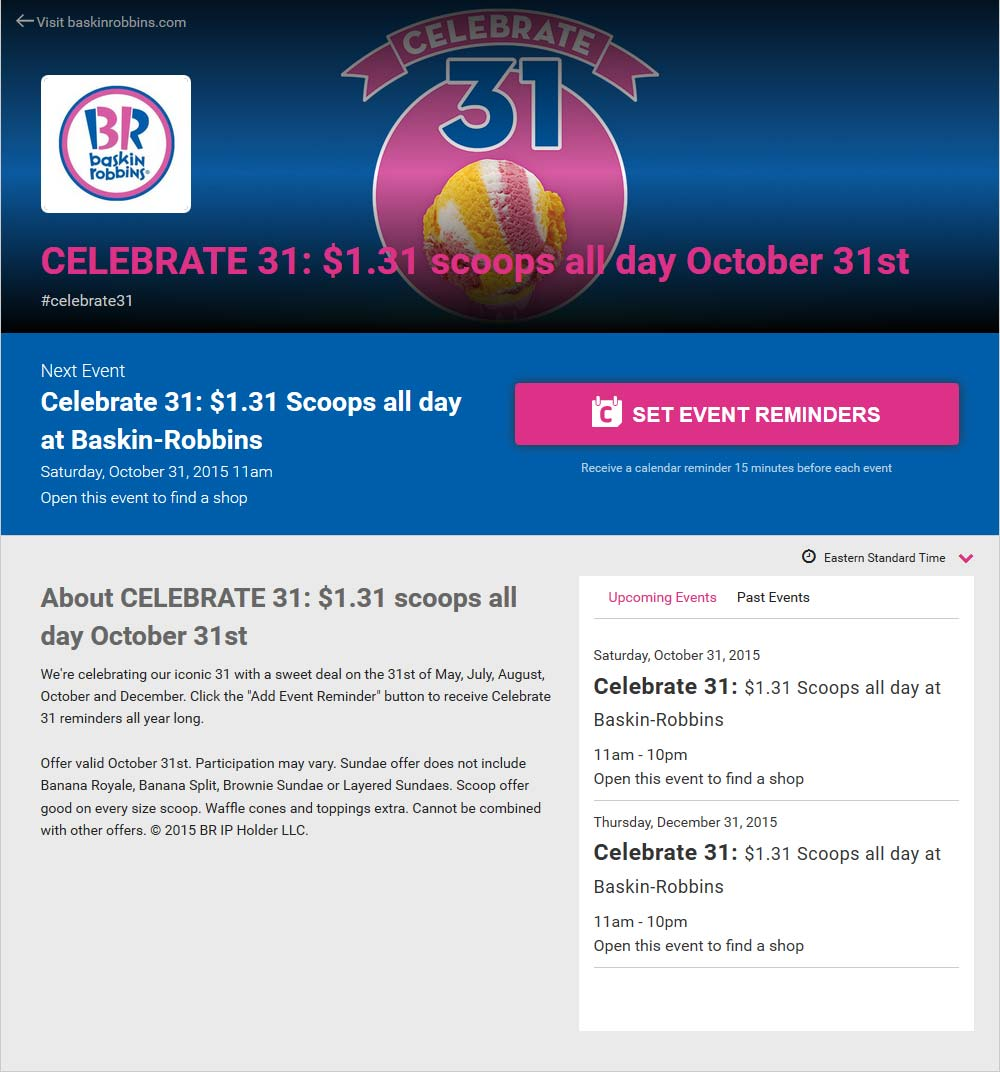 Baskin Robbins Coupon September 2017 $1.31 ice cream scoops Saturday at Baskin Robbins