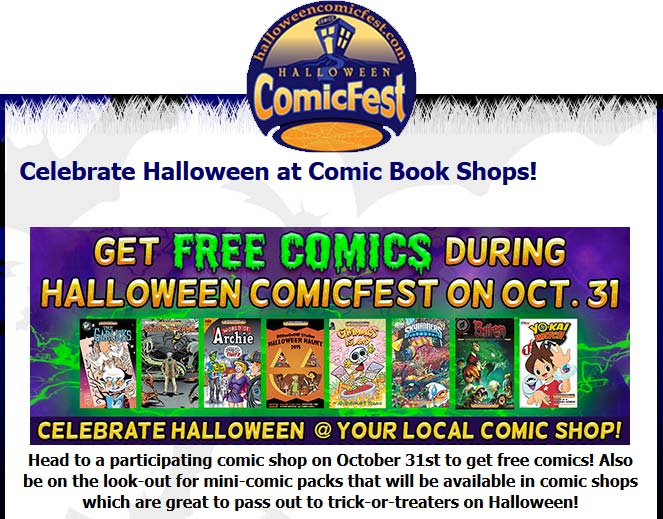 Comic Book Coupon June 2017 Free comics Halloween at your local Comic Book shop