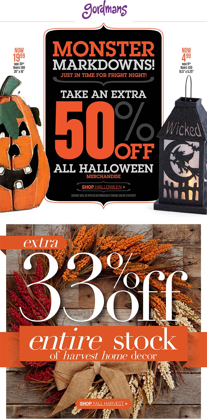 Gordmans Coupon February 2018 Extra 50% off Halloween at Gordmans