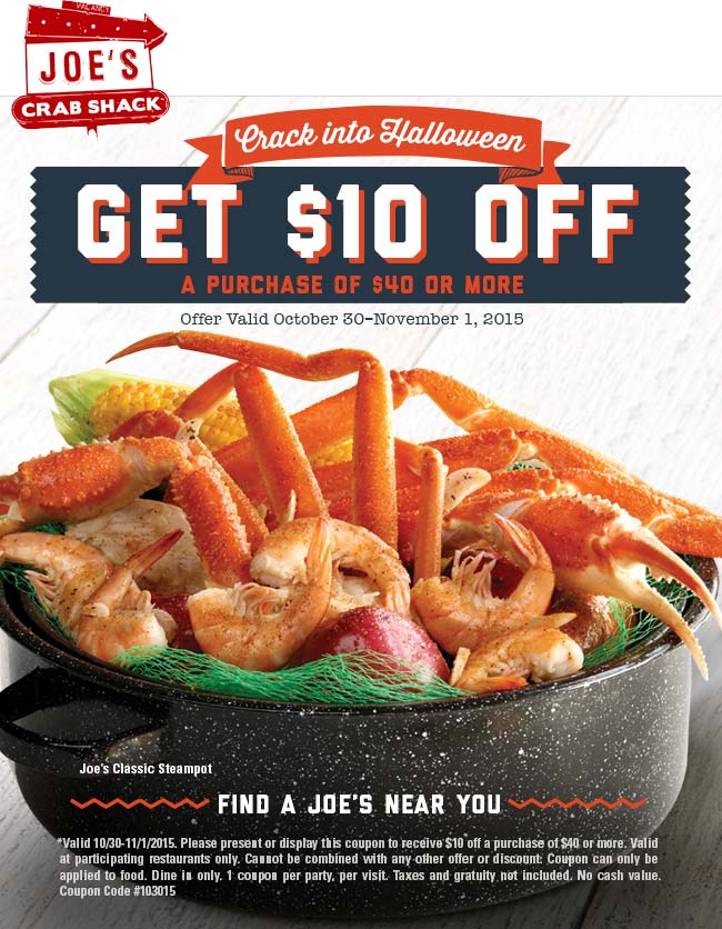 Joes Crab Shack Coupon November 2018 $10 off $40 at Joes Crab Shack