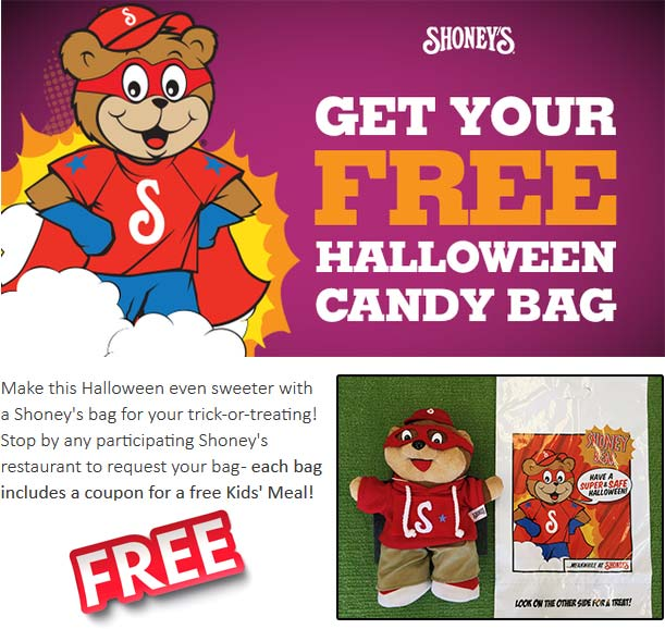 Shoneys Coupon January 2018 Free kids meal + bag at Shoneys restaurants