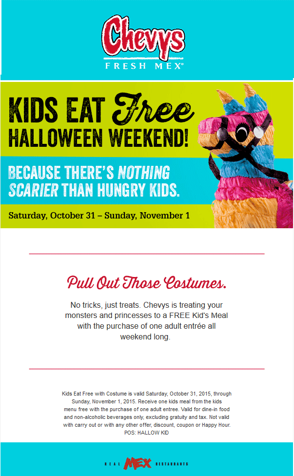Chevys Fresh Mex Coupon February 2017 Kids eat free this weekend at Chevys Fresh Mex