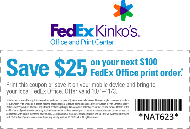 FedEx Coupon November 2018 $25 off $100 at FedEx Kinkos office print center