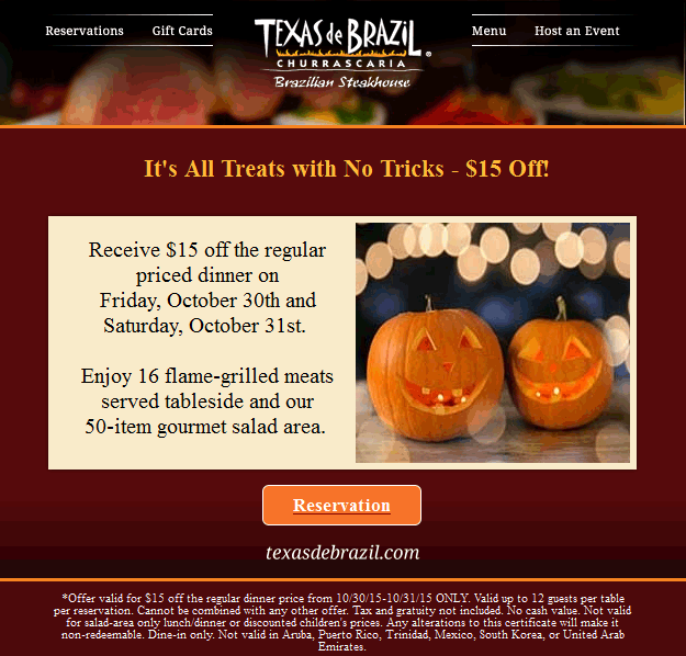 Texas de Brazil Coupon October 2016 $15 off dinner today at Texas de Brazil steakhouse