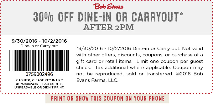 Bob Evans Coupon February 2017 30% off after 2pm at Bob Evans restaurant
