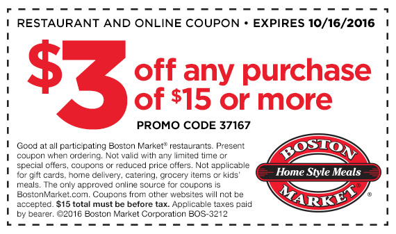 Boston Market Coupon August 2017 $3 off $15 at Boston Market restaurants