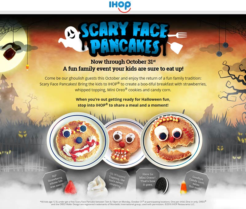 IHOP.com Promo Coupon Free scary face pancake for kids the 31st at IHOP